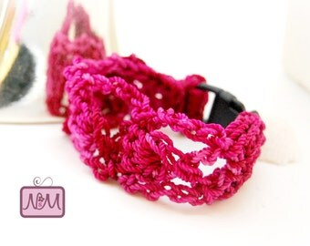 Crochet Woven Friendship Bracelet, Breast Cancer, Pink Mix Colour, 7 inches, Plastic Clasp, Crochet Bracelet, Gift For Her, Jewellery, Pink