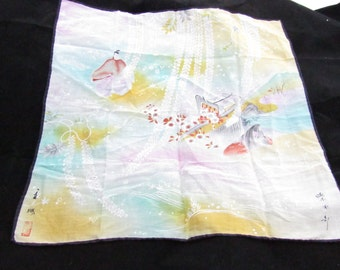 handkerchief vintage signed two japan