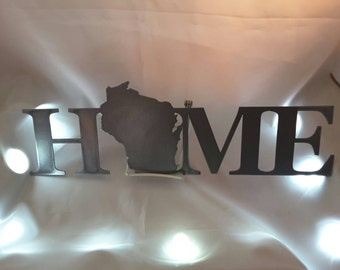 WI01 Wisconsin Home metal sign. Home decor