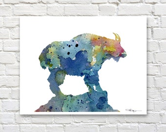 Blue Mountain Goat - Art Print - Abstract Watercolor Painting - Animal Art - Wall Decor