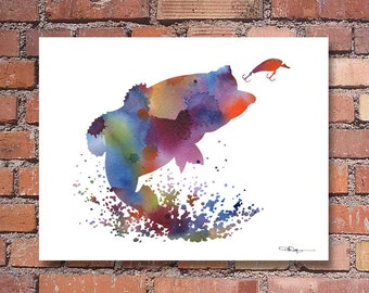 Large Mouth Bass Art Print - Abstract Watercolor Painting - Wall Decor
