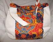 Colourful Fabric hobo bag Handmade Hobo Bag Shoulder bag Shopping bag Knitting bag beach bag Keyring  Reversible  2 bags in 1!