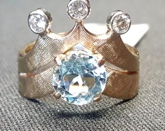 Price Reduced Aquamarine and Diamond Crown Ring, 14-K Yellow Gold