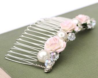 Blush Pink Hair Comb, Bridal Hair Comb, Wedding Hair Comb, Bridal Hair Accessories, Bridesmaid Hair Comb, Pearl Hair Comb