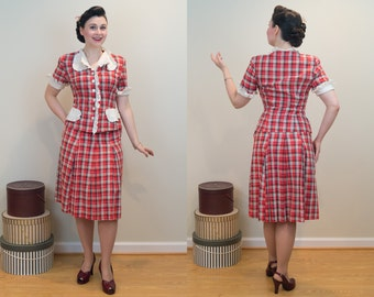 1940s Vintage Suit - Summer Weight Cotton Suit - Flirtatious and Fun Day Outfit!