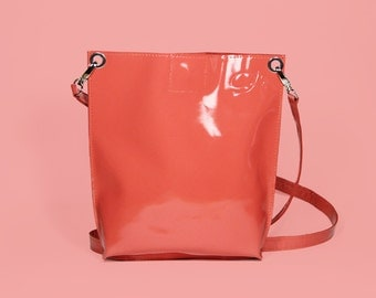 "Patent Leather Bag ""Monica Pink"", Pink Leather Crossbody, Patent Leather Purse, Patent Leather Cross Body Handbag"