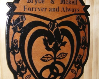 Personalized Wedding WOOD Sign Family Name Established..LASER Engraved.Gift.