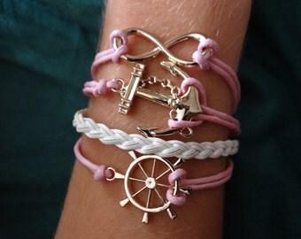 Pink braided nautical anchor infinity bracelet