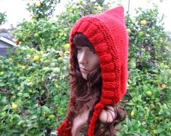 Knit little red riding hood, chunky knit hood, red pixie hood, unique winter accessory, red loose fit hat, cosplay hood, fairytale red hood