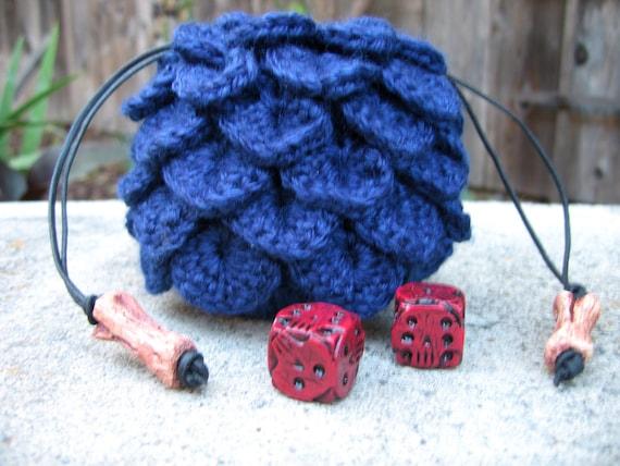 Blue dragon scale dice bag crochet drawstring pouch geek