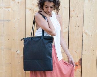 Leather Shopper bag, Shopping bag, Black shopper bag, Tote bag, leather black bag, shoulder bag, big leather bag, soft, Handmade Barcelona