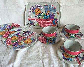 Vintage Humpty Dumpty Tin Dish Set; Ohio Art Tea Set; 10 piece Dish Set