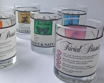 Drinking Glasses Trivial Pursuit Theme, Novelty Glasses 1983