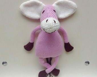 Plush donkey pink very soft soft