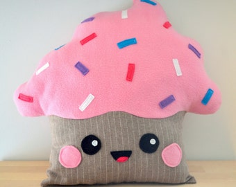 Cupcake pillow decorative cushion - Kawaii plushie plush toy - Funny gift baby girl kids bedroom decoration - by Jaune Cactus