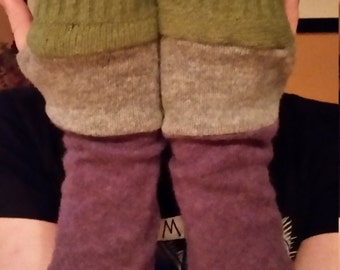 Awesome Upcycled Arm Warmers fingerless gloves made from recycled sweaters: cashmere  wool silk blend felted wool
