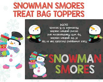 Snowman Smores Treat Bag Topper