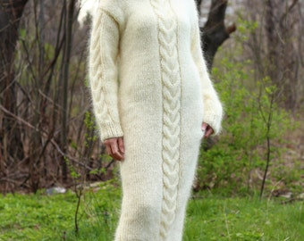 New Hand Knitted Mohair  Sexy Long Sweater,Ivory,Handmade Dress,S-M-L