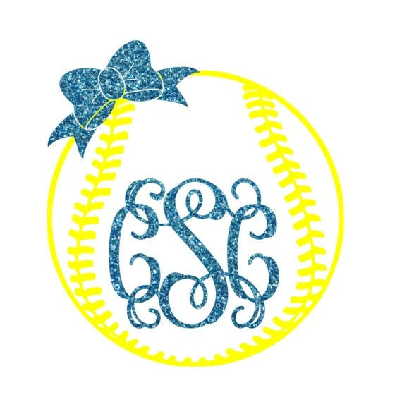 Softball Bow Monogram Iron On Softball Monogram Diy