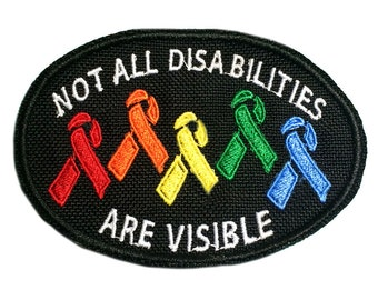 Not All Disabilities are Visible Rainbow Awareness Ribbon Patch - Oval