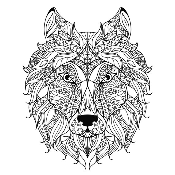 Adult coloring page wolfs head. Scalable by Thisgamehasnoname