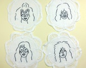 KISS- Hand Embroidered doilies, cocktail napkins, coasters - set of four