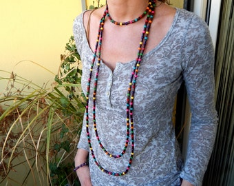 Necklace Wood Beads Brown and multicolored
