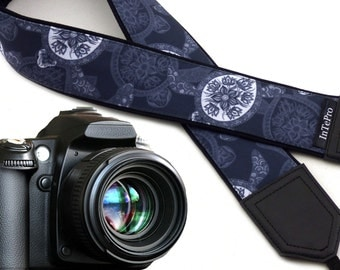 Camera strap Sea Turtles. Gray and white stylized DSLR camera strap. Cute camera straps for him, her by InTePro