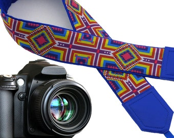 Tribal camera strap. Camera strap native. Bright multicolor ethnic camera strap. Blue, pink, yellow replacement strap for mirrorless cameras