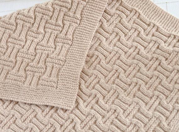 Knitting Pattern Beginner Knit Baby Blanket in Double Basket