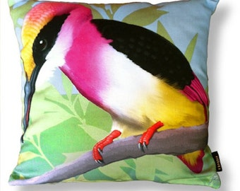 Bird cushion cover coton TEAROSE KINGFISHER