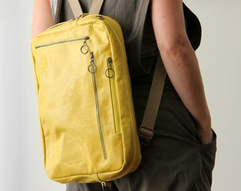 Yellow Leather Bag, Laptop Bag, Leather Backpack, Shoulder Bag, Convertible Bag, Macbook Bag, Computer Bag, Office Bag, Padded Computer Bag
