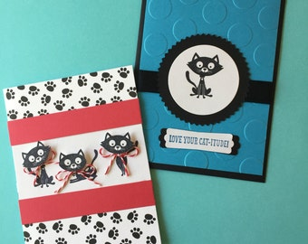 Set of 8 Purrfect Cat Cards- Free Shipping!