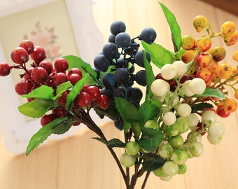 Lot of 1 or 10pcs Fashion Artificial Blueberry cranberry currants berry plant Wedding Holiday Home Party Decor Accessories Handmade for DIY