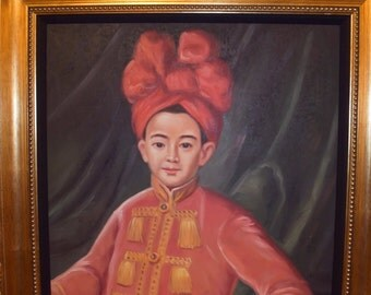 Oil PaintingOf  Crown Prince Nguyen Phuc Canh 1787 Vietnamese Late Nguyen Dynasty