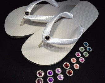 ANY COLOR RHINESTONE Bridal Party Wedding Flip Flops red, pink, purple, blue, green