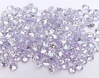 500pcs.Wholesale Lavender Cubic zirconia CZ Round cut 1.10mm. loose gemstones.