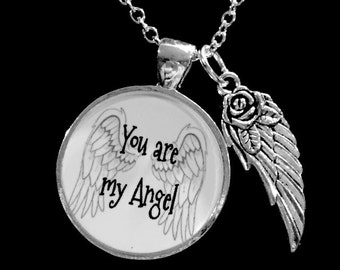 Guardian Angel You Are My Angel Wing Memory Remembrance Necklace