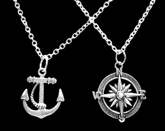 Best Friend Gift, Anchor Compass Necklace, Sister Friends Sisters Mother Daughter Nautical Necklace Set