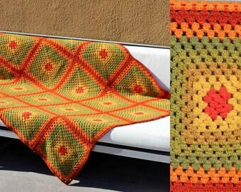 Vtg 70's groovy crochet blanket afghan handmade green orange granny square throw