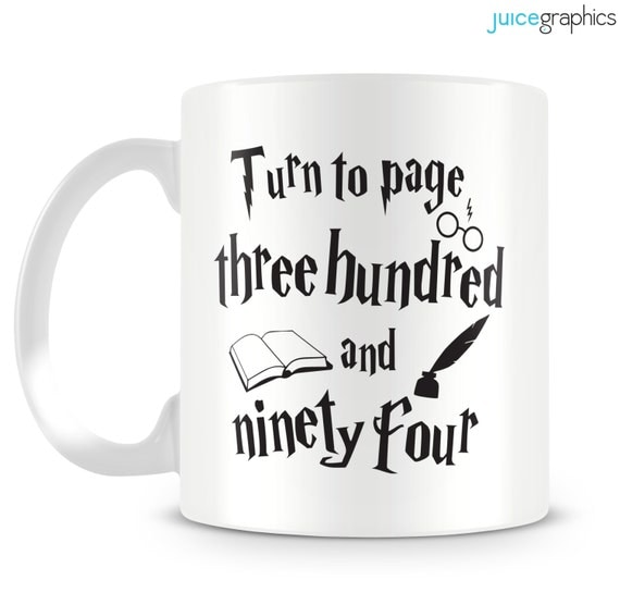 Harry Potter inspired mug 'Turn to page 394' Hermione mug design