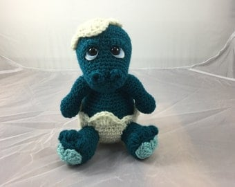 Newborn Dino and It's Shell crochet pattern - amigurumi tutorial - Dinosaur pattern - Crochet baby dinosaur - instant download pdf