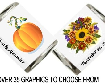 30 Fall Wedding Theme Hershey Nugget Candy Label Wrapper Favors Stickers ~ Over 35 Graphics to Choose From!