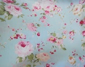 Soft Dusty Mint and Pink Vintage Roses, Shabby Cottage Roses Cotton Fabric_Half Yard