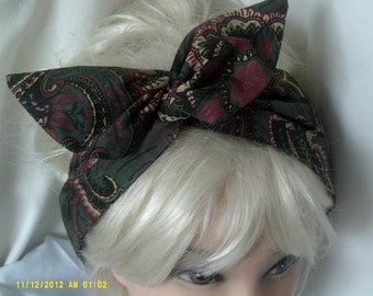 Wide Wire Headband made in Vintage Cotton
