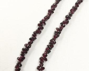 Vintage Bohemian Garnet beaded LONG Gypsy Necklace