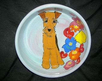 Hand Painted Ceramic Pet Bowl - Airedale
