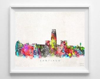 Santiago Skyline, Print, Chile Wall Decor, Watercolor Art, Cityscape, Living Room Decor, Bed Room Decor, Home Decor, Back To School