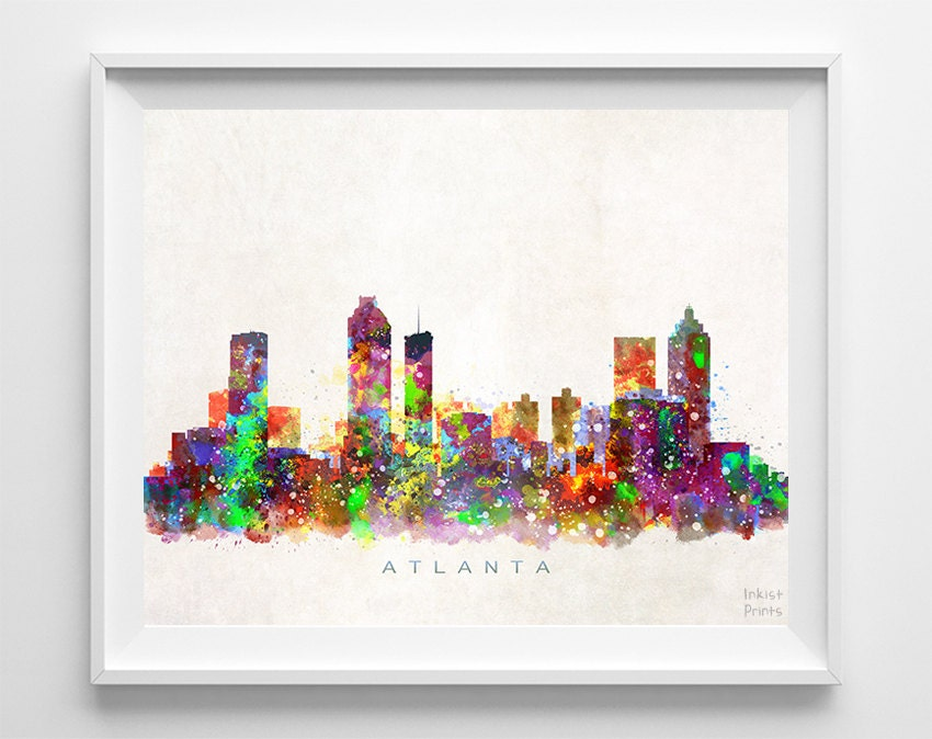 Painting Gift For Wedding : Atlanta Skyline Print Atlanta Poster Georgia Wall Art