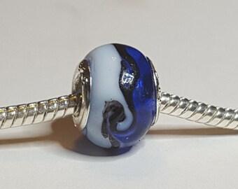 Blue White Glass Bead Spacer-Dark Blue on Half White on Half  Bold Black line -  Fits all Designer and European Charm Bracelets*